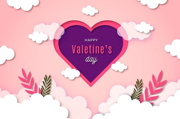 Aftelkalender voor valentijnsdag achtergrond in papier stijl Gratis Vector