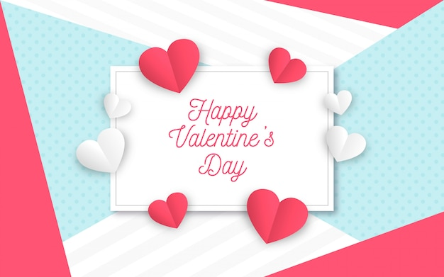Aftelkalender voor valentijnsdag achtergrond in papierstijl Gratis Vector