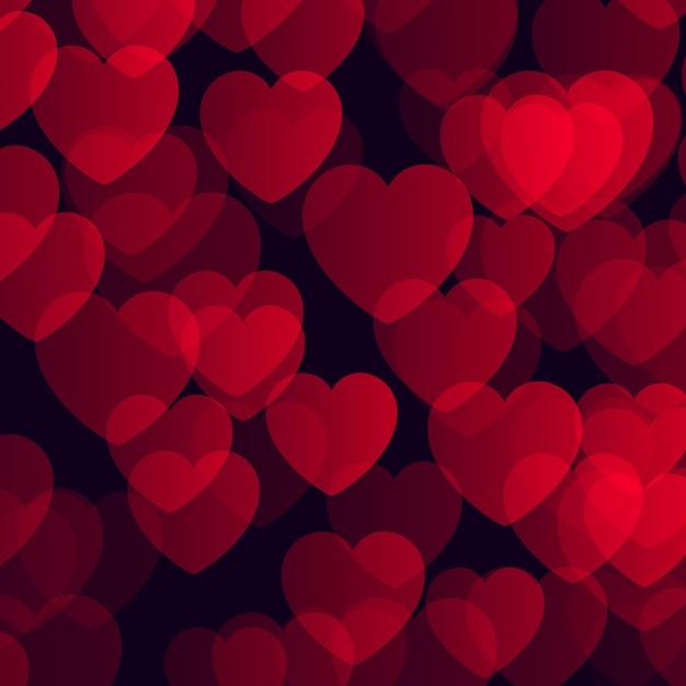 Aftelkalender voor valentijnsdag achtergrond met bokeh harten ontwerp Gratis Vector
