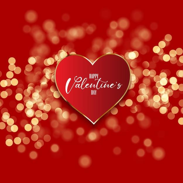 Aftelkalender voor valentijnsdag achtergrond met hart op bokeh lichten Premium Vector