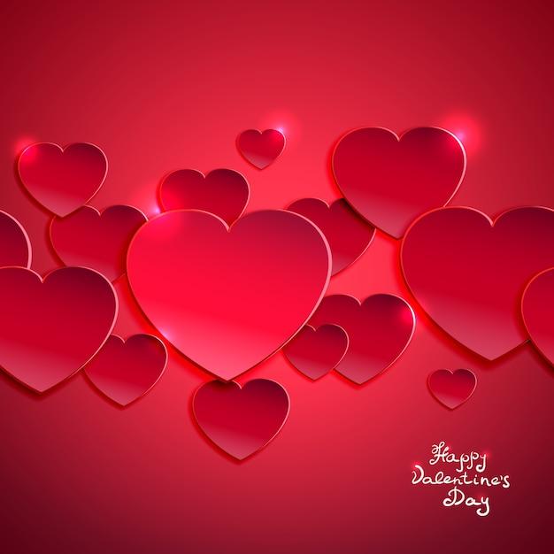 Aftelkalender voor valentijnsdag achtergrond vectorillustratie met rode harten Gratis Vector