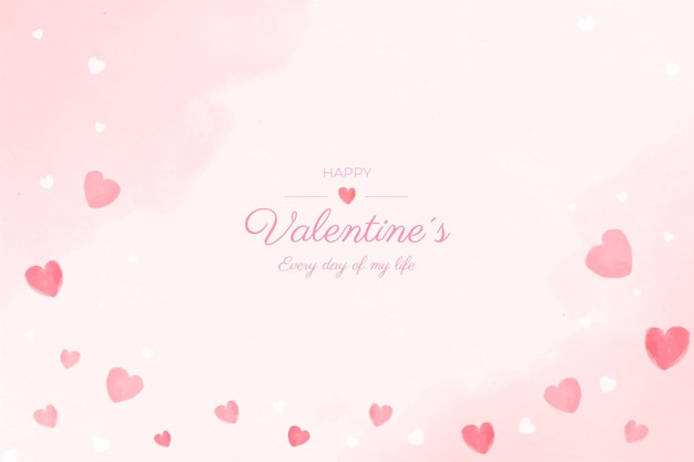 Aftelkalender voor valentijnsdag aquarel achtergrond Gratis Vector