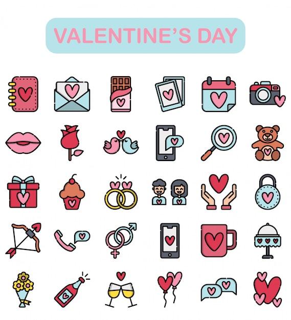 Aftelkalender voor valentijnsdag iconen set, lineaire kleur stijl premium Premium Vector