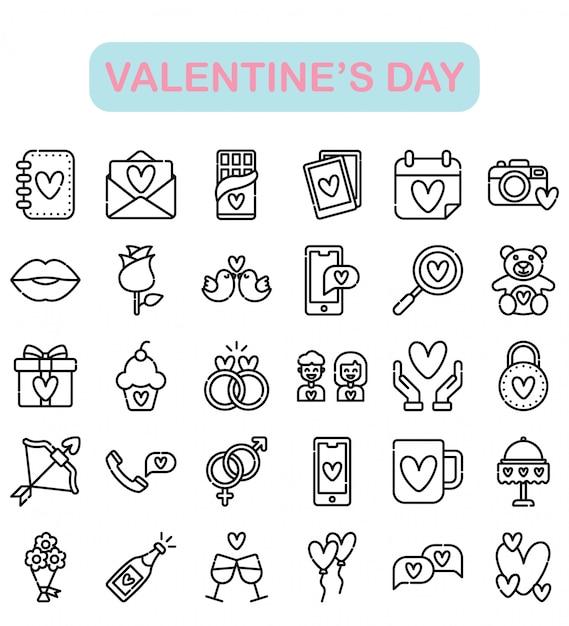 Aftelkalender voor valentijnsdag iconen set, overzicht stijl premium Premium Vector