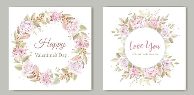 Aftelkalender voor valentijnsdag krans bloemen wenskaart Gratis Vector