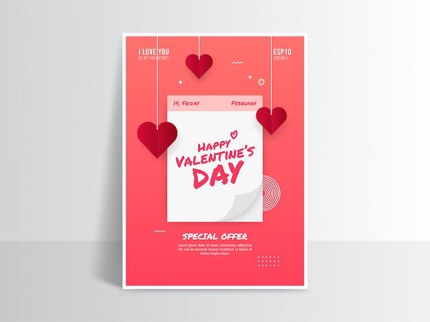 Aftelkalender voor valentijnsdag partij posters, flyers sjabloon, symbool van romantische vakantie vieren Premium Vector