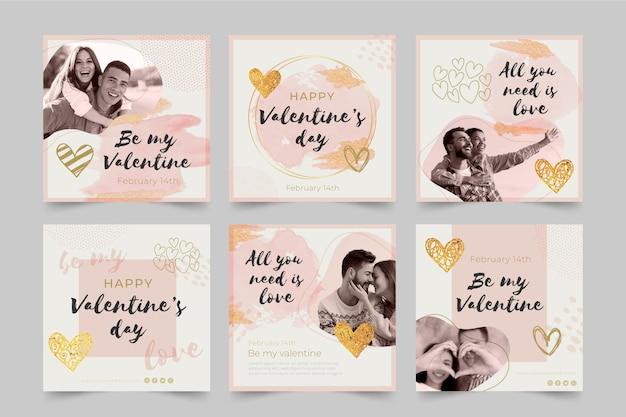 Aftelkalender voor valentijnsdag sociale media-berichten ingesteld Gratis Vector