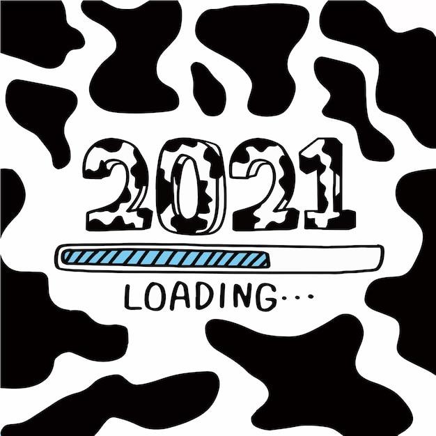 Aftellen naar het nieuwe jaar 2021, het jaar van de os 2021 Gratis Vector