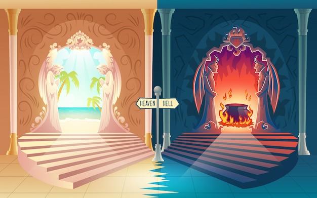 Afterlife uitbetaling cartoon met trap naar de hemel en de hel poorten met biddende engelen en gehoornde demonen Gratis Vector