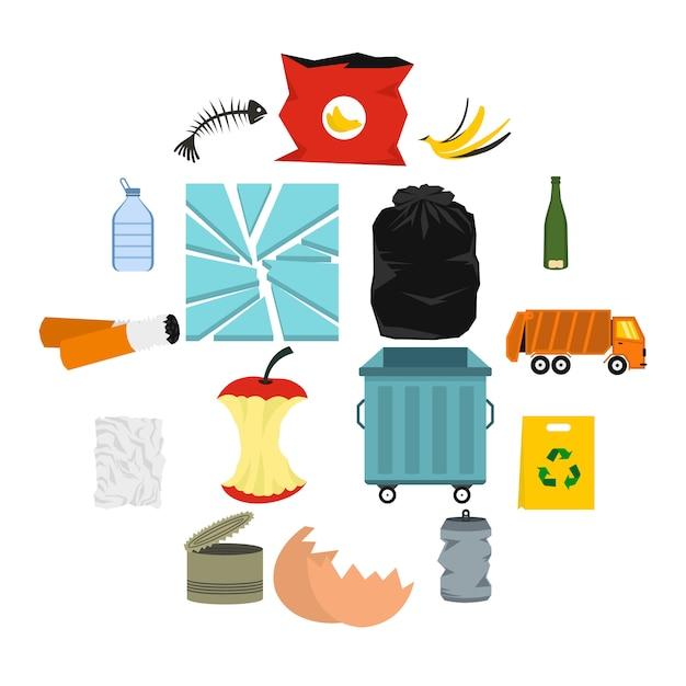 Afval en afval iconen set, vlakke stijl Premium Vector