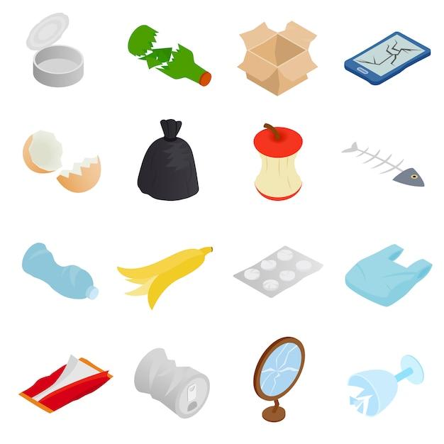 Afval en afval voor recycling pictogrammen instellen Premium Vector