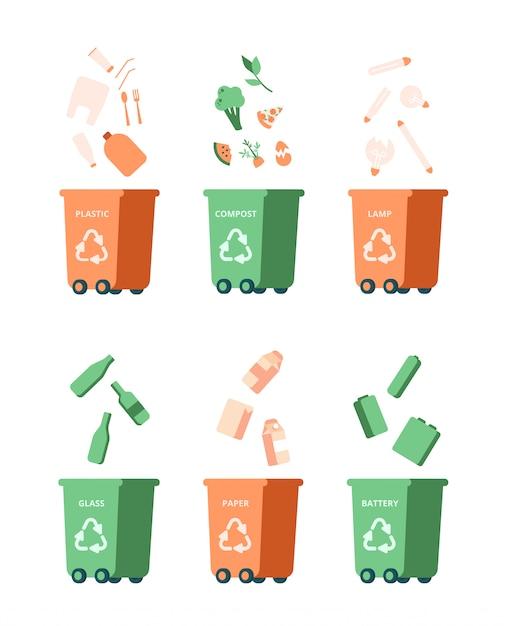 Afval recycling management concept met verschillende vuilnis. vector Premium Vector