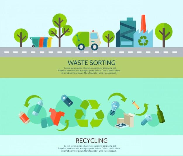 Afval sorteren en recyclen van horizontale banners met materialen en fabrieksflat Gratis Vector