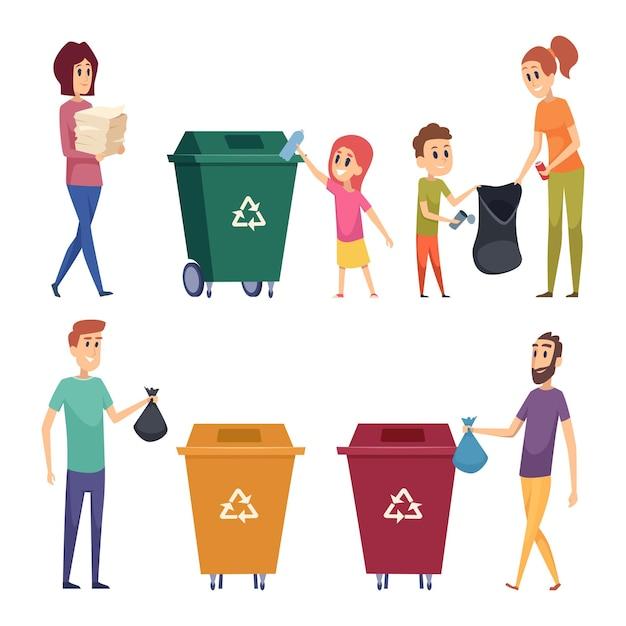 Afval sorteren. mensen recyclen en opruimen vuilnis natuurlijk beschermen natuur metalen papieren glas scheiding cartoon mensen. Premium Vector