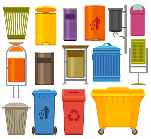 Afvalcontainers kleurrijke pictogrammen instellen. illustratie Premium Vector