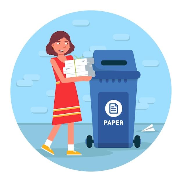 Afvalrecycling illustratie, afval sorteren ronde clipart op witte achtergrond. jong meisje papier aanbrengend vuilnisbak stripfiguur, materiaal hergebruik element Premium Vector