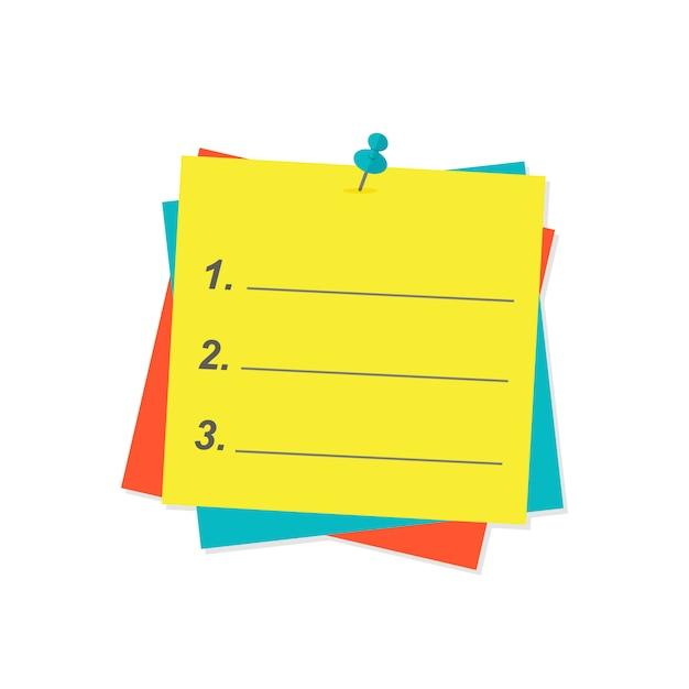Agenda lijst papier vectorillustratie. Premium Vector