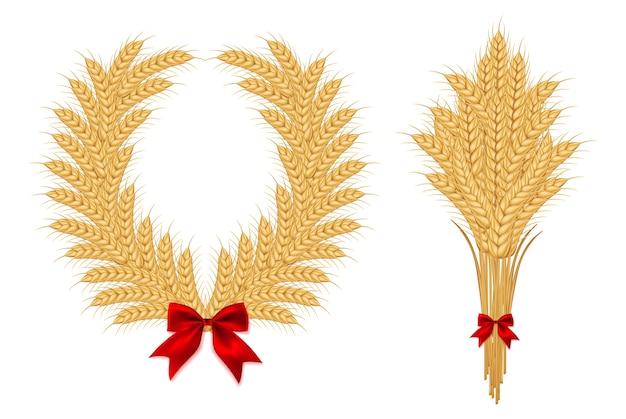 Agrarische graangewassen ingesteld Premium Vector