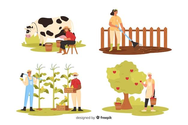 Agrarische mensen die op het land werken Gratis Vector