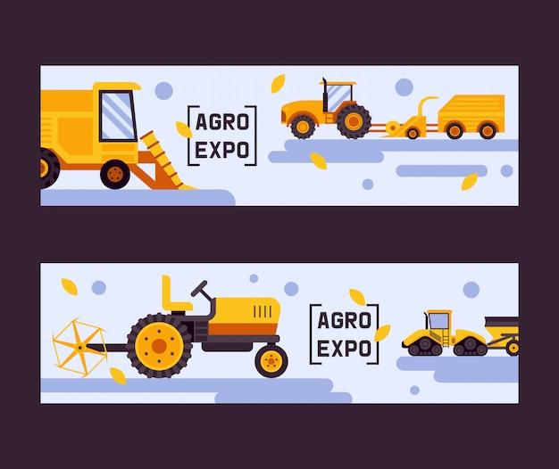 Agro expositie set van banner. oogstmachine. apparatuur voor de landbouw. industriële landbouwvoertuigen, tractortransport, maaidorsers Premium Vector