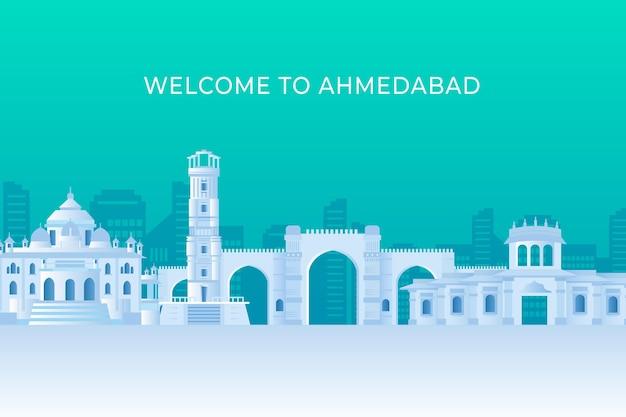 Ahmedabad skyline in papieren stijl Gratis Vector