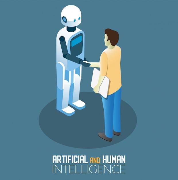 Ai en menselijke concepten isometrische illustratie Premium Vector