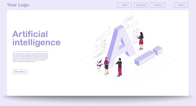 Ai isometrische webpagina vector sjabloon met isometrische illustratie Premium Vector