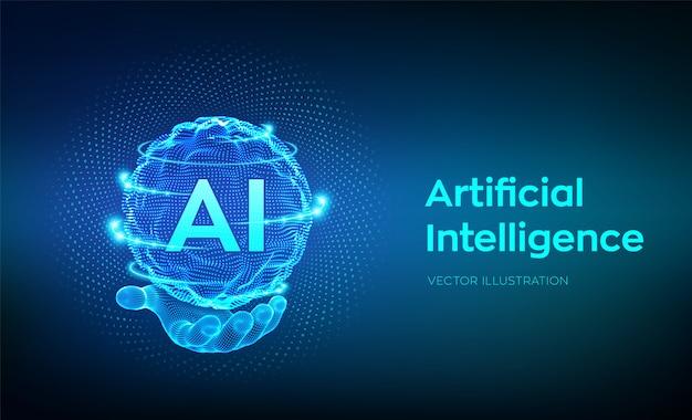Ai. kunstmatige intelligentie logo in de hand. sphere grid wave met binaire code. Premium Vector