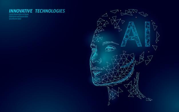 Ai kunstmatige intelligentie robot ondersteunt 3d. virtuele assistent-technologie voor spraakherkenning. chatbot mooi vrouwelijk gezicht laag poly Premium Vector