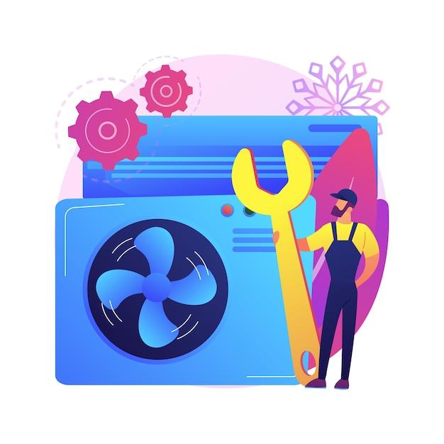 Air conditioning en koeling diensten abstract concept illustratie. installatie, reparatie en onderhoud van airconditioners, apparatuur voor klimaatbeheersingssystemen Gratis Vector