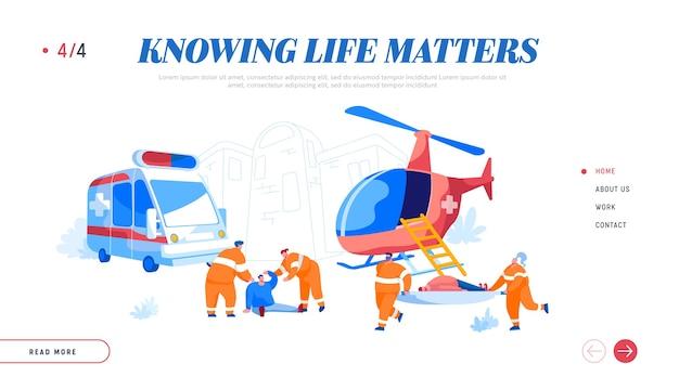 Air rescue service en landingspagina sjabloon voor medische noodhulp op de grond Premium Vector