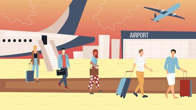 Air vluchten concept. mensen verlaten het vliegtuig en gaan naar de luchthaventerminal. groep bedrijfsmensen en toeristen met bagage. mannen en vrouwen dichtbij aangekomen vliegtuig. cartoon platte vectorillustratie. Premium Vector