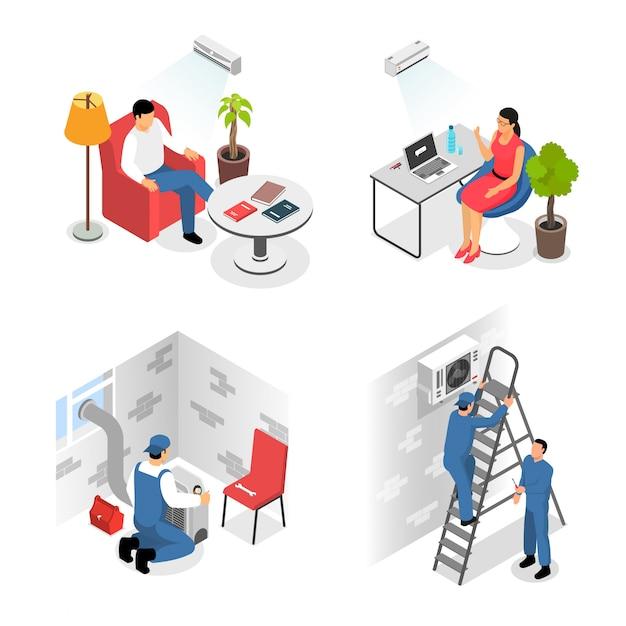 Airconditioners installatie design concept Gratis Vector