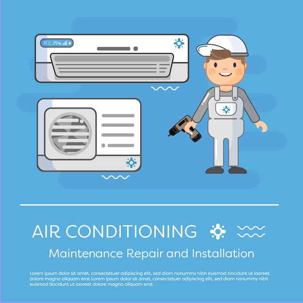 Airconditioning specialist Premium Vector