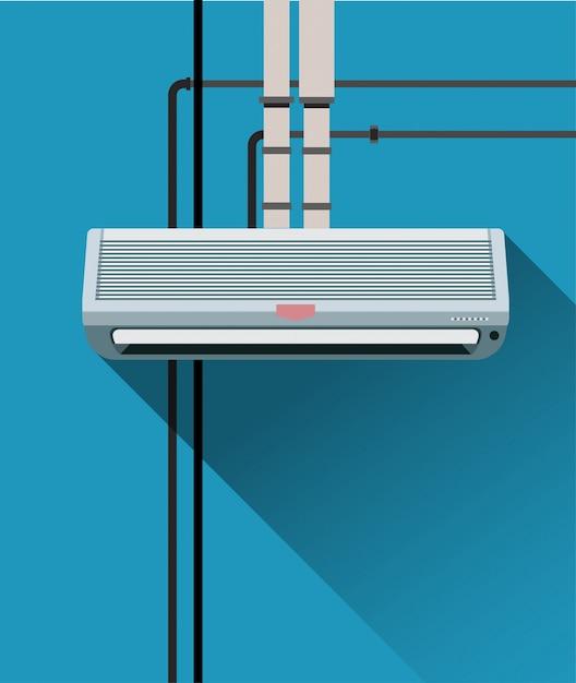 Airconditioningsysteem met buizen Premium Vector