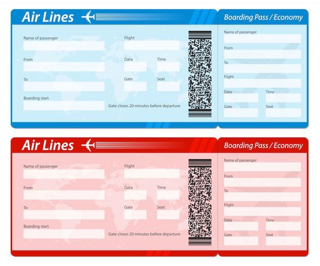 Airline instapkaart voor vliegtuigreizen. Premium Vector