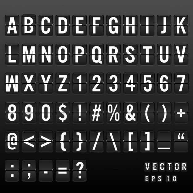 Airport board lettertype Gratis Vector