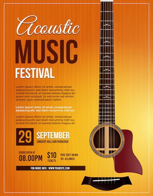 Akoestische muziek gitaar poster Premium Vector