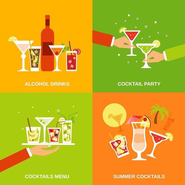 Alcohol cocktails pictogrammen plat Gratis Vector