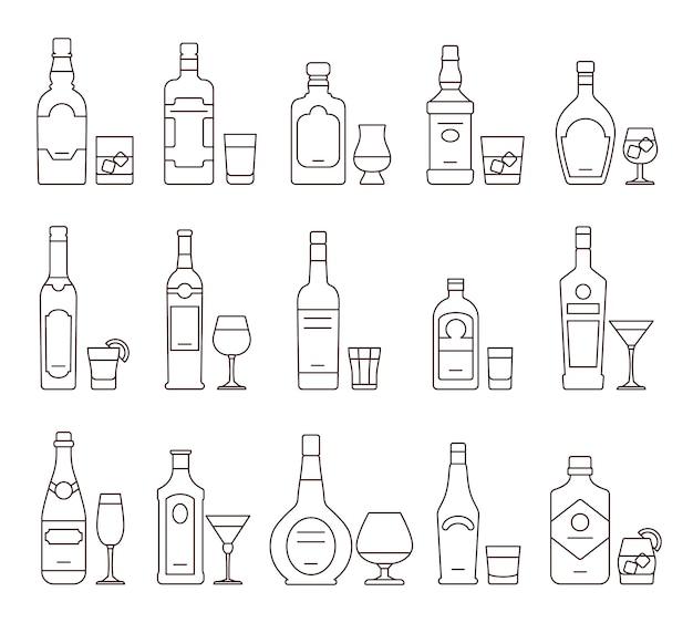 Alcohol drinken dranken schetsen pictogrammen, flessen en glazen dunne lijnsymbolen Premium Vector