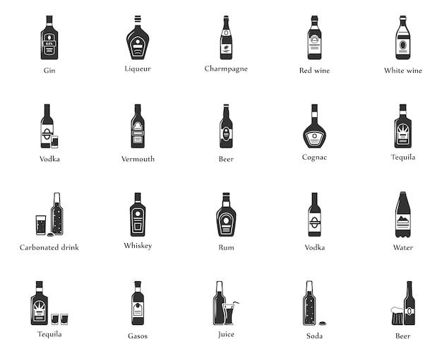 Alcohol drinkt icon set. flessen, glazen voor restaurants en bars. Premium Vector