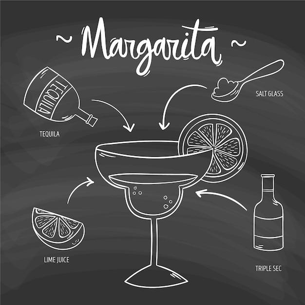 Alcoholisch de cocktailrecept van margarita op bord Gratis Vector