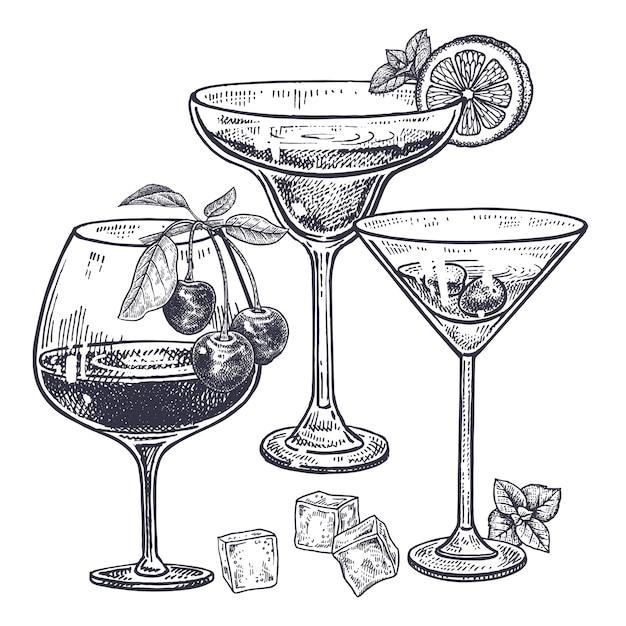 Alcoholische dranken ingesteld. Premium Vector