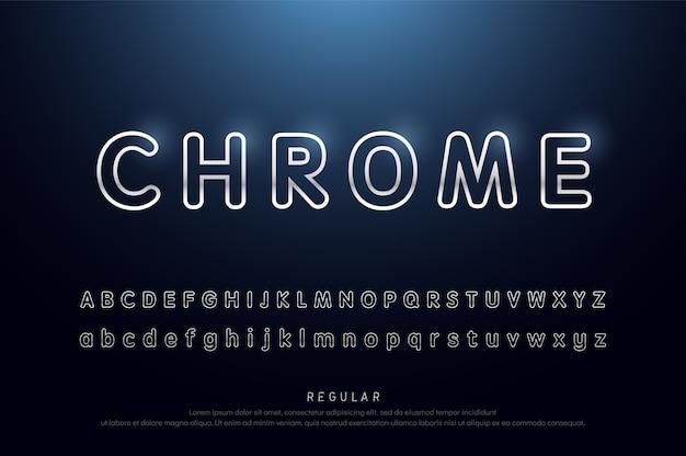 Alfabet afgeronde lijn zilver metallic en effect moderne lettertype Premium Vector
