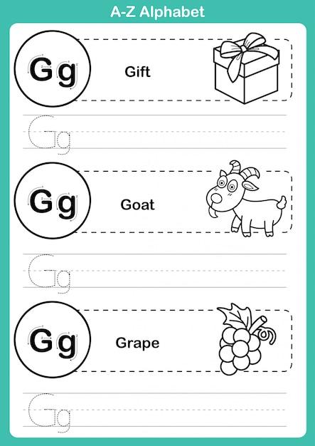 Alfabet az-oefening met beeldverhaalwoordenschat voor het kleuren van boek Premium Vector