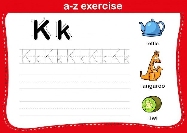 Alfabet az oefening met de illustratie van de beeldverhaalwoordenschat, vector Premium Vector