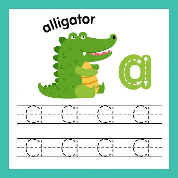 Alfabet een oefening met de illustratie van de beeldverhaalwoordenschat, vector Premium Vector