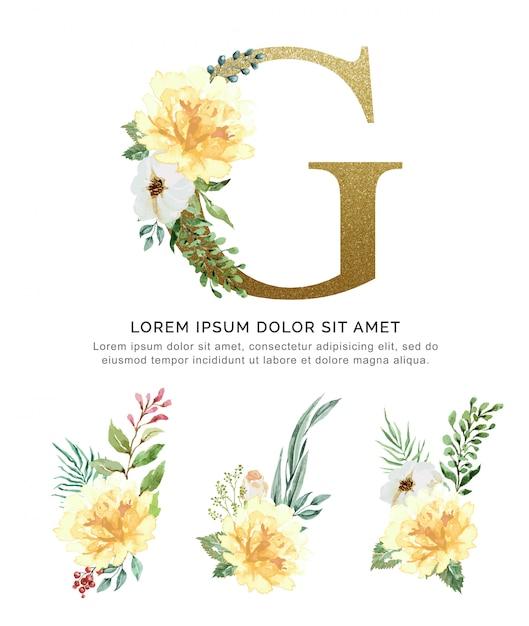 Alfabet g met boeketten bloem collectie aquarel. Premium Vector