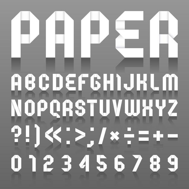 Alfabet gevouwen papier Premium Vector