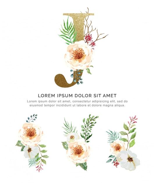 Alfabet j met boeketten bloem collectie aquarel. Premium Vector